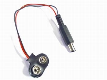 9 volt batterij connector met 2.1mm voedingsplug