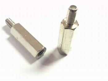 Metalen afstandsbus zeskant 15mm met schroefeind