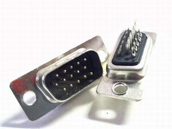 Sub D connector 15 polig male smal 3 rijen contacten