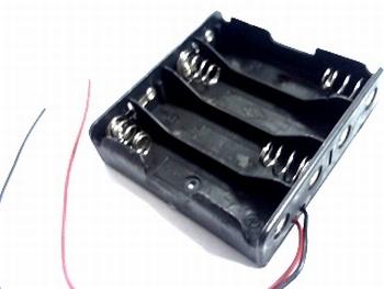 Batterijhouder 4 x AA breed met draadaansluiting