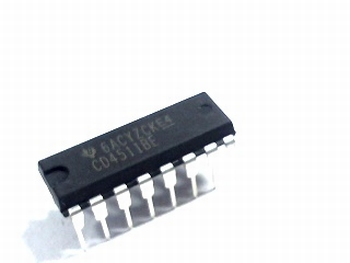 CD4511  BCD to 7-segment Latch/Decoder/Driver