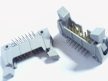 Header male connector 2x7 pins haaks